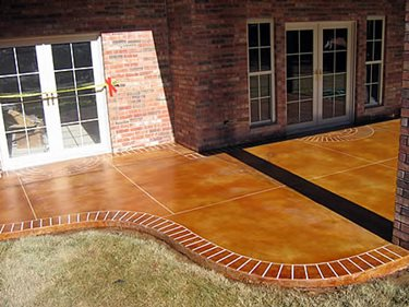 Clay, Brick Border Concrete Patios Red River Concrete Designs Ardmore, OK