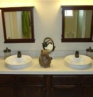 Double Sink, Concrete Countertop, Above Countertop Sink Stamped Concrete Ancient Art Concrete Countertops Austin, TX