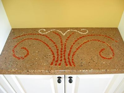 Exposed Glass Concrete Countertops Hudecek Cement Inc North Royalton, OH