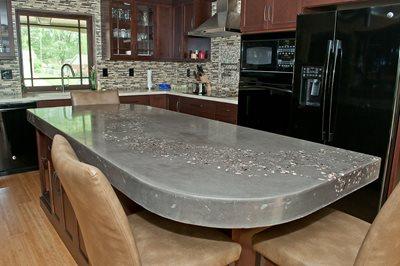 Kitchen Island, Embedded Aggregate Concrete Countertops M Concrete Studios Dayton, OH