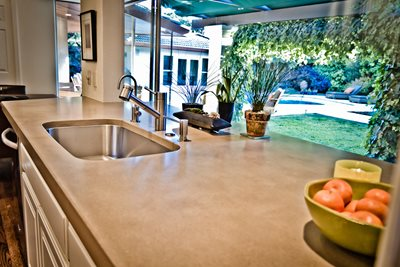 Light Tan Concrete Countertop, Undermount Stainless Steel Sink Concrete Countertops Flying Turtle Cast Concrete Modesto, CA