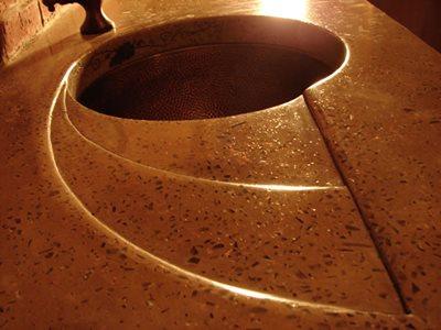 Swiral Design Concrete Countertops M Concrete Studios Dayton, OH