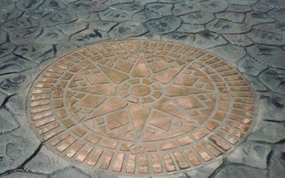 Stencil, Compass Rose Concrete Driveways Yoder Concrete Construction, LLC West Liberty, OH