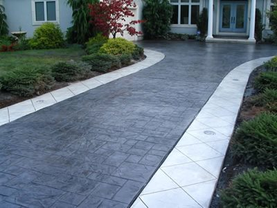 White Border Concrete Driveways Hudecek Cement Inc North Royalton, OH