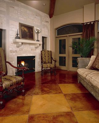 Brown Checkered Stain Concrete Floors Kemiko Concrete Coatings & Floor Systems Whittier, CA