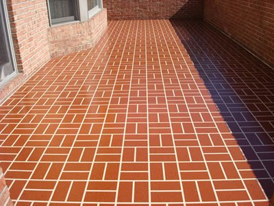 Basket Weave, Apache Red Concrete Patios Artistic Concrete Coatings Lima, OH