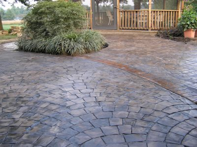European Fan Stamped Patio, Brown Multi-Color Patio, Stamped Patio Concrete Patios Ramsey's Concrete Service Carterville, IL