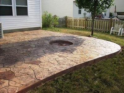 Wonderful ... Stained Stamped Concrete Patio