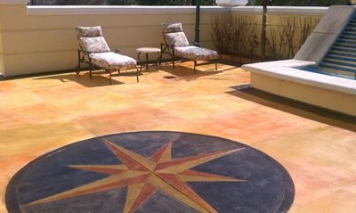 Scored, Stained Concrete Patios Nationwide Concrete Design Jacksonville, FL