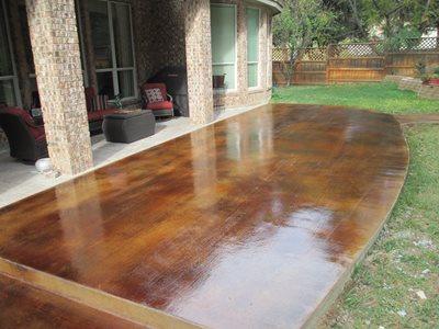 Stained Wood Grain Concrete Patios Custom Concrete Solutions Schertz, TX