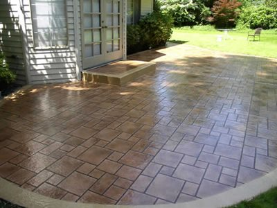 Stenciled Patio Concrete Patios NW Coatings & Concrete Snohomish, WA