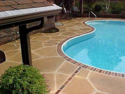 Brick Border, Tan Concrete Pool Decks Industrial Applications Inc Butler, PA