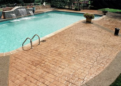 Brick, Fountain Concrete Pool Decks Custom DesignCrete, Inc Crescent, PA