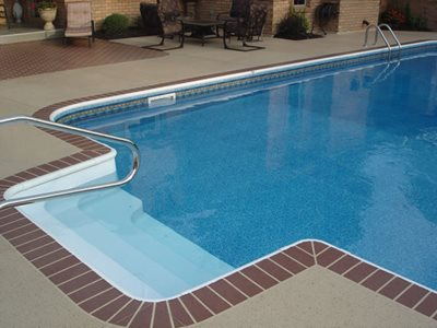 Buff, Brick Border Concrete Pool Decks Artistic Concrete Coatings Lima, OH