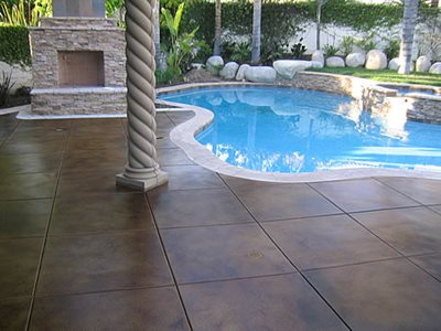 Dark Brown Stained Deck Concrete Pool Decks Infinity Concrete Coatings Newport Beach, CA