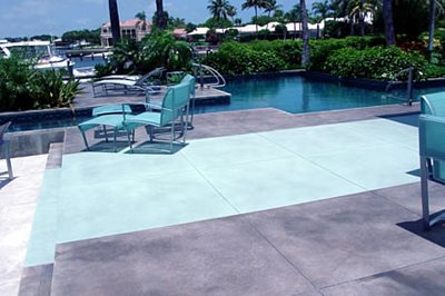 Green, Geometric Concrete Pool Decks It's A Work Of Art West Palm Beach, FL