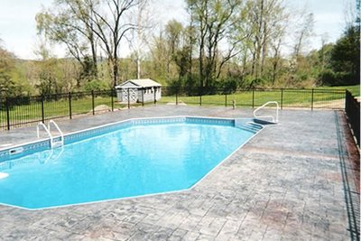 Grey, Charcoal, Slate Concrete Pool Decks Burgess Concrete Designs, Inc. Wallkill, NY
