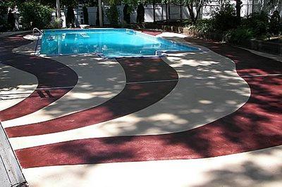 Red Bands Concrete Pool Decks Level 5 Surfaces LLC Park Ridge, NJ