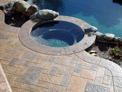 Square Stone, Earth Tone Concrete Pool Decks Apex Concrete Designs, Inc. Roseville, CA