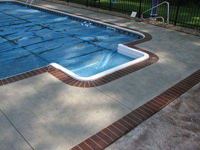 Stained Pool Deck Concrete Pool Decks Conceptual Concrete & Engraving Ltd Woodville, OH