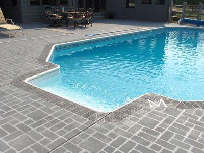 Stenciled Cobblestone Concrete Pool Decks R&S Concrete Solutions & Insulation Middletown, OH