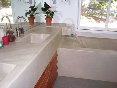 Bathtub, Faucet Concrete Sinks Ron Odell's Custom Concrete Woodland Hills, CA