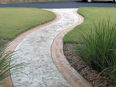 Clay Border, Texture Concrete Walkways Custom Concrete Solutions Schertz, TX