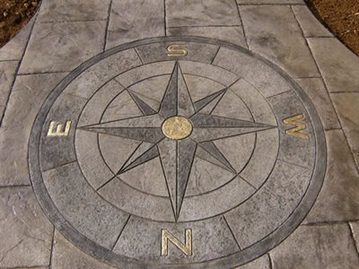 Compass, Shaded, Gold Highlights Concrete Walkways CamoCrete Exton, PA