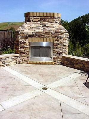 Large, Stone Fireplace Outdoor Fireplaces Bomanite Corporation Madera, CA