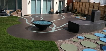 Artistic Patio, Blue Concrete Commercial Floors Suncoast Concrete Coatings Inc San Diego, CA