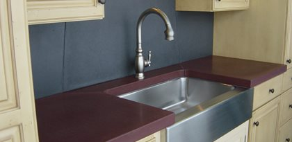 deep purple stainless steel concrete countertops two stones design bettendorf ia - Colored Concrete Countertops