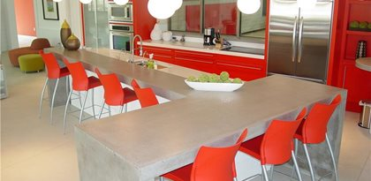 gray island counter concrete countertops hard topix jenison mi - Colored Concrete Countertops