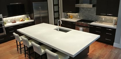 Ordinaire White, Island, Kitchen Concrete Countertops Hard Topix Jenison, MI
