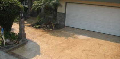 Texture Stamped Driveway Concrete Driveways Beach Cities Concrete Design Inc Rancho Palos Verdes, CA