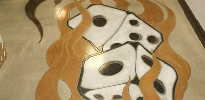Dice, Flames Concrete Floors Floor Seasons Inc Las Vegas, NV