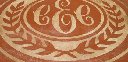 Stenciled, Stained Concrete Floors Concreations, LLC Millersburg, IN
