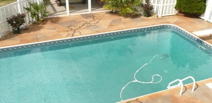 Faux Flagstone Pool Deck Concrete Pool Decks Decorative Concrete Institute Temple, GA