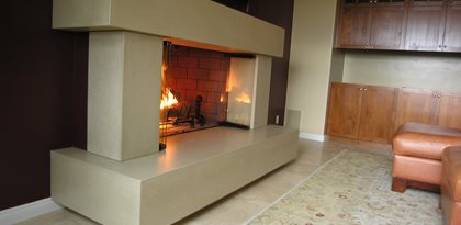 Grey Concrete Fireplace Fireplace Surrounds Pourfolio Custom Concrete San Diego, CA