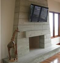 Stacked Timber, Concrete Fireplace Fireplace Surrounds DC Custom Concrete San Diego, CA