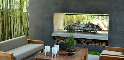Modern Backyard Fireplace Outdoor Fireplaces ConcreteNetwork.com