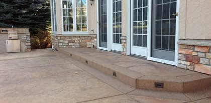 Brown Stamped Concrete Patio Site Diehl Concrete Sedalia, CO