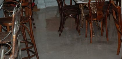 Cafe Floor, England, Gray, Topping Site Bomanite Group International