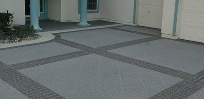 concrete driveway stenciled brick bands site custom ram design ocala fl - Concrete Design Ideas