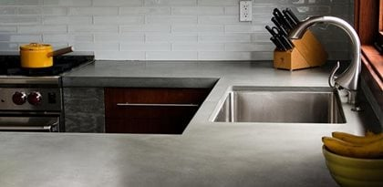 Gray Countertop Concrete Wave Design Anaheim, CA