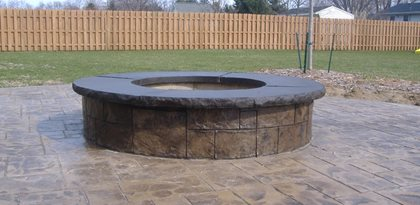 Stamped Concrete Patio With Firepit Site Concrete Impressions, LLC East Leroy, MI