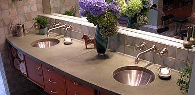 Curved, Double Sink Concrete Countertops Liquid Stone Designs Lenexa, KS