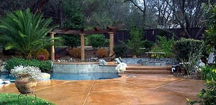 Camel, Caramel Concrete Pool Decks California Decorative Concrete El Dorado Hills, CA