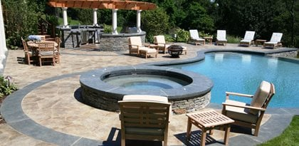 Raised Spa, Stone Concrete Pool Decks New England Hardscapes Inc Acton, MA