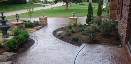 Textured, Walkway, Brown, Landscaping Concrete Walkways J&H Concrete Uniontown, OH