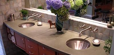 Curved, Double Sink Site Liquid Stone Designs Lenexa, KS